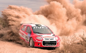 Picture Auto, Dust, Sport, Machine, Turn, Skid, Lights, WRC, Rally, Rally, Fiat, Fiat, The front, Abarth