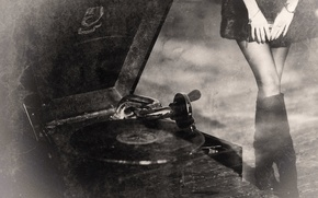 Picture retro, gramophone, vintage, old records