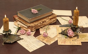 Picture flowers, paper, table, books, roses, old, candles, vintage, vintage, candlesticks, letters, cards
