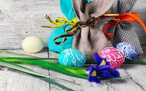 Picture flower, holiday, Board, eggs, Easter, bags, decor, Easter, iris