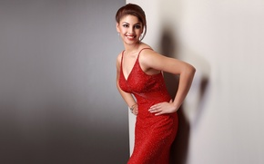 Picture girl, face, smile, actress, hairstyle, red dress, red lips, richa gangopadhyay