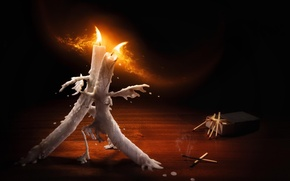 Picture fire, matches, dance, candles, wax, tango