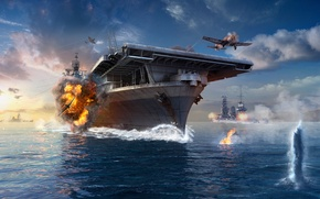 Picture The sky, Water, Clouds, Wave, Smoke, Aircraft, Ship, Ships, Flame, The carrier, Wargaming Net, WoWS, …