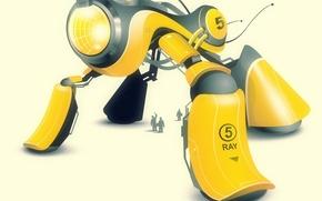 Wallpaper vector, robot, yellow