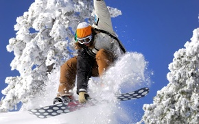 Picture the sky, girl, snow, snowboard, Snowboard