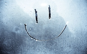 Wallpaper frost, smile, Glass, snow