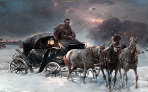 Picture winter, picture, Journey winter night, Alfred Ian Maximilian Verush-Kowalski