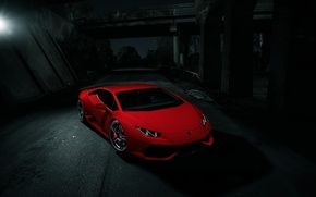 Picture Lamborghini, Dark, Red, Front, Color, Huracan, LP610-4, Nigth