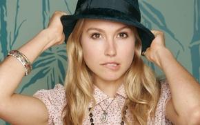 Picture hat, blonde, cute, actress, Sarah Carter
