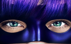 Picture eyes, look, eyelashes, mask, kick, hit girl, bangs, Kick Ass 2