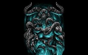 Wallpaper horns, blue, Demon, tentacles