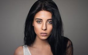 Picture girl, face, background, model, portrait, makeup, brunette, Martin Kuhn, Julia Carina