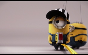Picture background, Wallpaper, minions, builders, Despicable me, with a tape measure