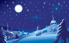 Picture winter, the sky, stars, landscape, night, the moon, snowman, hut