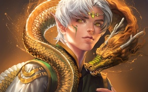 Picture eyes, dragon, elf, scales, yellow, horns, guy, sakimichan
