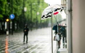 Picture the city, umbrella, people, rain, street, umbrella, stores, passers-by