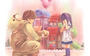 Wallpaper balls, girl, kindness, care, attention, childhood, boy