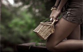 Picture girl, shorts, basket