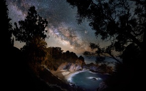 Picture sea, beach, night, The Milky Way