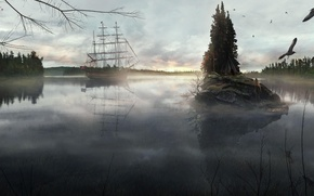 Picture forest, the sky, overcast, shore, island, sailboat, totem, tipi