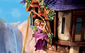 Picture the sky, flowers, mountains, chameleon, castle, hair, Windows, tower, Rapunzel, Princess, Tangled, Pascal, Goldilocks, complicated …