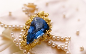 Picture gold, stone, ring, decoration, sapphire