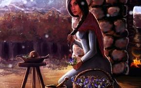 Picture girl, house, fire, basket, chair, braid, grass, boiler, illustration to the book, mortar, Robert Jordan, …