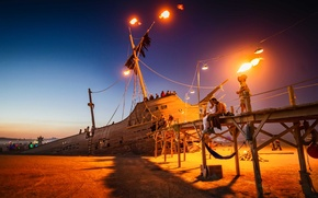 Picture the sky, lights, people, ship, art, USA, Nevada, art, pirate ship, Burning-Man