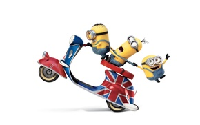 Picture cartoon, yellow, white background, scooter, characters, Minions, Minions