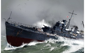"Picture sea, wave, the sky, squirt, figure, Japanese, WW2, albatrosses, ""Tsugaru"", frontier, mine"