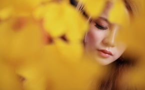 Picture girl, flowers, reverie, face, Asian