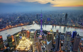 Picture sunset, river, China, Oriental Pearl Tower, Jin Mao Tower, the Huangpu river