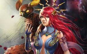 Wallpaper fire, beast, fantasy, girl, MAG, red, magic, Lana Solaris, look