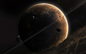 Wallpaper asteroid, planet, ring