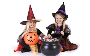 Picture children, holiday, candy, costume, pumpkin, Halloween, children's, witch, boiler