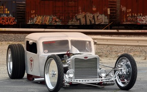 Picture WHITE, DESIGN, CHROME, TUNING, CLASSIC, HOT ROD CARS, HOT ROD, CAR