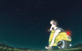 Picture the sky, stars, Vespa, Furi Curie, Furi-Kuri, flcl