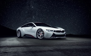 Picture white, the sky, night, view, bmw, stars, white, wheels, drives, black, sky, tuning, night, stars, …