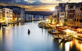 Picture gondola, Venice, lighting, the city, sea, the evening, building, lights, Italy, clouds, the sky, Italy, ...