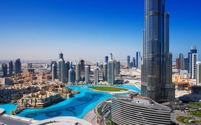 Picture city, home, panorama, Dubai, Dubai, skyscrapers, cities, Burg Califa, fountain.