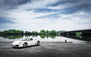 Picture Bridge, River, Ferrari, White, F430, Ferrari, Landscape, White