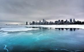 Wallpaper sea, city, winter