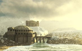 Picture house, river, sky, water, mountains, clouds, snow, byzantium worlds