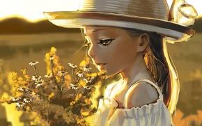 Picture field, girl, flowers, bouquet, hat