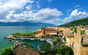 Picture trees, mountains, nature, castle, Marina, home, boats, Italy, Italy, Veneto, Torri del Benaco, Veneto, Torri …