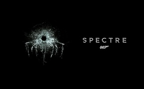 Picture cracked, black background, James Bond, 007, James Bond, a bullet hole, 007: RANGE, SPECTRE