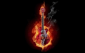 Wallpaper guitar, Fire, smoke