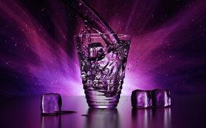 Wallpaper ice, purple, water, drops, light, squirt, transparent, glass, rendering, cubes, Shine, glass, ice, beauty, ice, ...