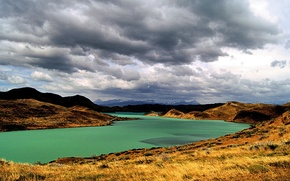 Wallpaper Argentina, Patagonia, mountains, shore, river, clouds