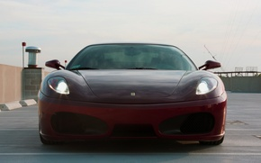 Picture roof, the sky, clouds, shadow, Parking, red, ferrari, Ferrari, f430, sky, the front, clouds, parking, …